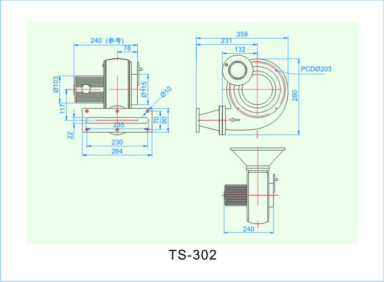 TS-302离心风机安装尺寸图