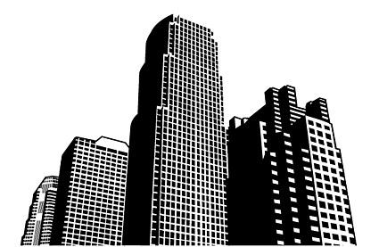 一排高楼大厦简笔画
