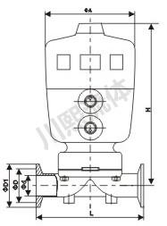 气动卫生级隔膜阀尺寸图