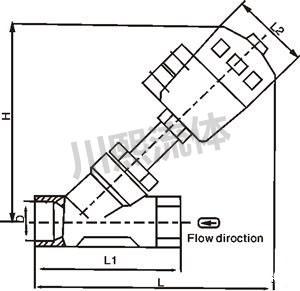 内螺纹气动角座阀尺寸图
