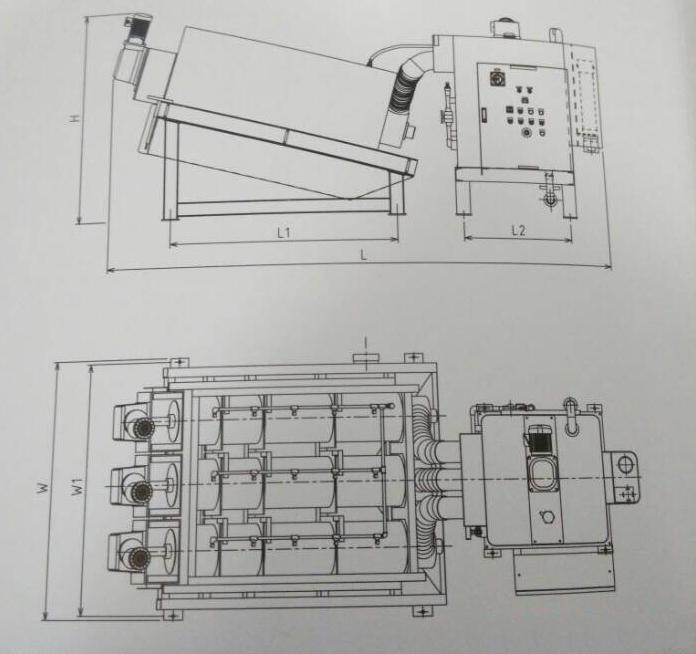 叠螺式污泥浓缩机结构图