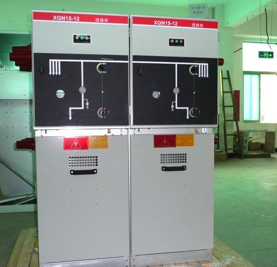 """XGN15-12高压交流双电源金属封闭开关设备吸收了国外的先进技术,它体积小,仅是普通开关柜体积的50%;断路器具有可靠性高,性能好;""""五防""""联锁机械可靠,简单等优点。开关柜是3.6,7.2,12kV三相交流电50Hz单母线分段的户内成套装置,作为接受和分配电能之用。并具有对电路进行控制,保护和监测等功能,可使用在各类型发电厂,变电站及工矿企业,高层建筑等场所,也可与环网柜组合应用于开闭所中。 XGN15-12高压交流双电源金属封闭开关设备是我公司新一代高压电器成套产品,符合国家"""